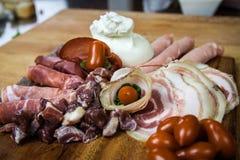 Buffalo mozzarella & cold cuts Stock Photography