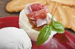 Buffalo mozzarella with ham Stock Photography