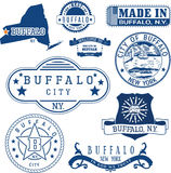 Buffalo, New York. Set of stamps and signs. Royalty Free Stock Images