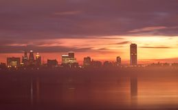 Buffalo, New York Skyline Prior To Sunrise. The Buffalo, New York skyline is colorfully lit up just prior to sunrise on a cold winter morning. Photo shot from stock images