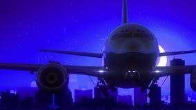Buffalo New York USA America Airplane Take Off Moon Night Blue Skyline Travel stock video