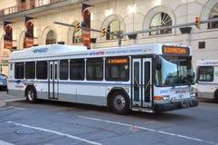 Buffalo NFTA Hybrid Bus, New York, USA. Buffalo NFTA (Niagara Frontier Transportation Authority) Hybrid Bus Gillig Advantage T40 in downtown Buffalo Stock Photo