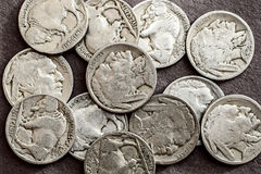 Buffalo nickels. A collection of old circulated buffalo nickels Royalty Free Stock Photography