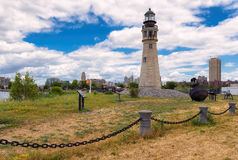 Buffalo North Breakwater Lighthouse and the city in the background Stock Photo