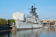 USS Little Rock guided missile cruiser in Buffalo New York. BUFFALO, NY - MAY 15, 2018: The guided missile cruiser USS Little Rock moored at the Buffalo & Erie royalty free stock photography
