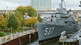 Buffalo, NY, USA - OKTOBER 20, 2016: USS The Sullivans, DD-537 Destroyer. Buffalo and Erie country Naval and Military stock footage