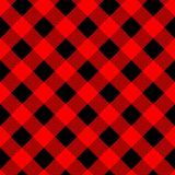 Buffalo plaid seamless pattern with diagonal lines. Alternating red and black squares lumberjack background. Vector royalty free illustration