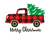 Free Buffalo Plaid Truck Carrying A Christmas Tree Royalty Free Stock Photography - 163138907