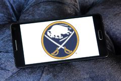 Buffalo Sabres ice hockey team logo. Logo of Buffalo Sabres ice hockey team on samsung mobile. The Buffalo Sabres are a professional ice hockey team based in Royalty Free Stock Images
