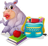 A buffalo with school bag Stock Images