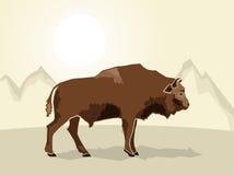 Buffalo on a stylized mountain background Royalty Free Stock Photo