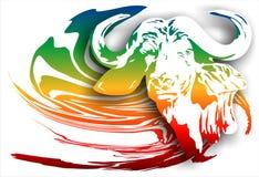 Buffalo sur un fond abstrait (Vecteur) Photo libre de droits