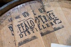 Buffalo Trace Distillery Stencil on Barrel Head. Frankfurt, United States: May 4, 2017: Buffalo Trace Distillery Stencil on Barrel Head Along Kentucky Bourbon stock photos