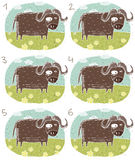 Buffalo Visual Game. For children. Illustration is in eps8  mode! Task: Find two identical images (match the pair)! Answer: No. 2 and 6 Stock Images