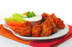 Buffalo Wings. Plate of hot and spicy buffalo chicken wings Royalty Free Stock Image
