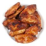 Buffalo wings. Chicken Buffalo Wings on the white plate macro shot stock images
