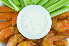 Buffalo Wings. Plate of buffalo wings, celery and blue cheese dressing Stock Photo