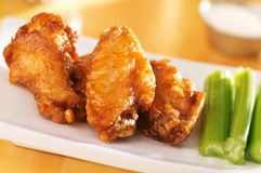 Buffalo wings. With celery and ranch dip Royalty Free Stock Photo