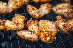Buffalo wings cooked on grill Royalty Free Stock Photography