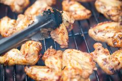 Buffalo wings cooked on grill stock image