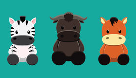 Buffalo Zebra Horse Doll Set Cartoon Vector Illustration Stock Photography