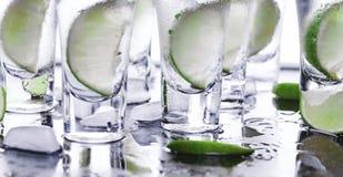 buffed Много стекла с спиртной текила коктеиля стоковые изображения rf