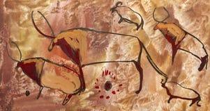 Buffel. Gammal forntida petroglyph Royaltyfri Bild