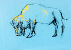 Buffelmålning royaltyfri illustrationer
