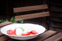 Buffelmozzarella och tomatsallad Fotografering för Bildbyråer