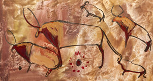 Buffels. Oude oude rotstekening Royalty-vrije Stock Afbeelding