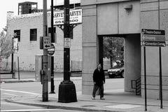 Buffelväg med hemlös i buffeln NY royaltyfri fotografi