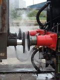 Buffer up. Steam engine coupled buffer to buffer of wagon royalty free stock photography