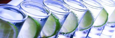 bufferten Många exponeringsglas med den alkoholiserade coctailen arkivfoton