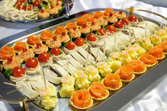 Buffet. Tray with different light snacks - catering buffet style Stock Photos