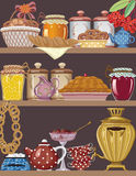 Buffet. Shelves of a buffet with jars of homemade jams, bakery, teapot, teacups and gold russian samovar - vector illustration Royalty Free Stock Image