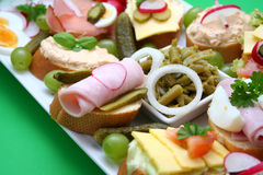 Buffet. Some beautiful arranged pieces of bread royalty free stock image