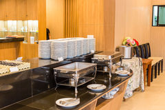 Buffet area at dining room in hotel Stock Photos
