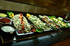 Buffet breakfast. Sweden, these tables can be seen in Morocco at the Iberostar royalty free stock photo