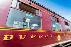 Buffet Car. A buffet car located on the Severn Valley Railway in Kidderminster in the United Kingdom, England. The Severn Valley Railway is a heritage railway in Stock Photos