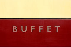 Buffet car sign. Severn valley railway, bewdley station, uk royalty free stock photo