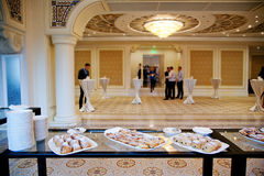 Buffet at the conference. Buffet table during a break at the conference Royalty Free Stock Photo