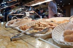 Buffet on the cruise ship. Bread and buns Stock Image
