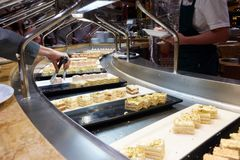 Buffet on the cruise ship. Sliced sausage, ham and cheese Royalty Free Stock Photos