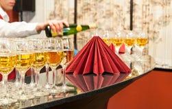 Buffet del vino Fotografia Stock Libera da Diritti