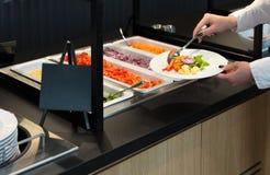 Buffet dell'insalata, alimento del vegano di affari di approvvigionamento Fotografie Stock Libere da Diritti