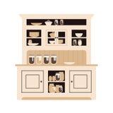 Buffet della cucina della conigliera con i piatti delle bottiglie e vetri differenti, latte e piatti piano Immagine Stock