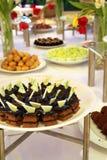Buffet dessert dinner. Buffet food dessert dinner at restaurant with chocolate cake Stock Images
