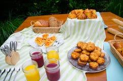 Buffet di picnic della prima colazione Fotografia Stock
