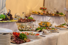 Buffet with different appetizers stock images