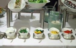 Buffet dinner. Condiment section at Buffet food dinner restaurant Royalty Free Stock Photos